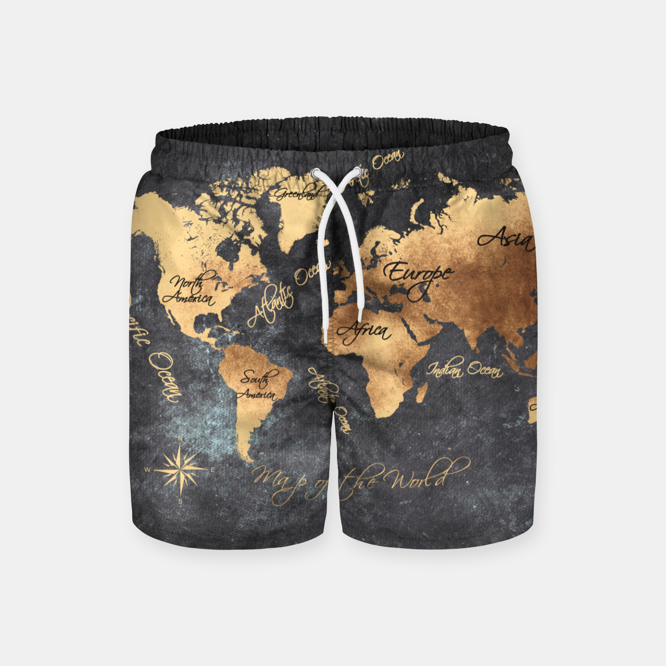 Image of world map gold black #worldmap #map Szorty kąpielowe - Live Heroes