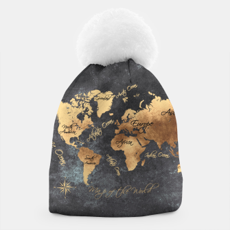 world map gold black #worldmap #map Czapka thumbnail image