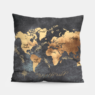 world map gold black #worldmap #map Poduszka obraz miniatury
