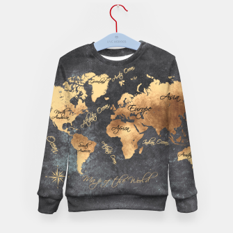 world map gold black #worldmap #map Bluza dziecięca obraz miniatury