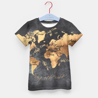 Miniaturka world map gold black #worldmap #map Koszulka dziecięca, Live Heroes