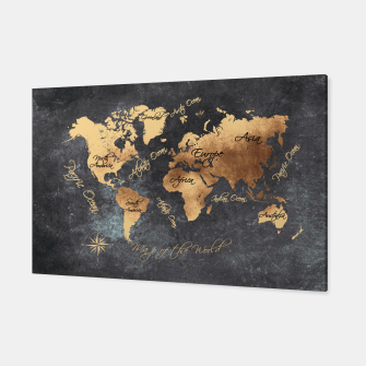 world map gold black #worldmap #map Canvas obraz miniatury