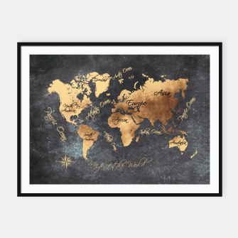Thumbnail image of world map gold black #worldmap #map Plakaty w ramie , Live Heroes