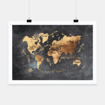 Miniaturka world map gold black #worldmap #map Plakat, Live Heroes