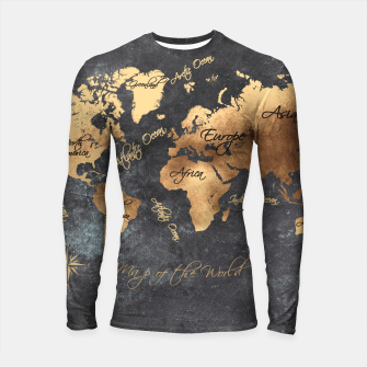 Thumbnail image of world map gold black #worldmap #map Rashguard długi rękaw, Live Heroes