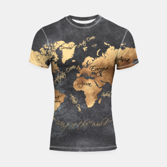 Miniaturka world map gold black #worldmap #map Rashguard krótki rękaw, Live Heroes