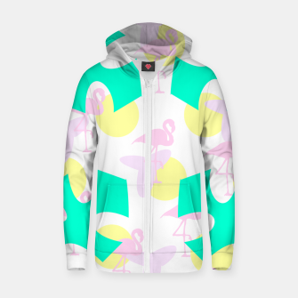 Thumbnail image of Flamingo vibrant pattern Cotton zip up hoodie, Live Heroes