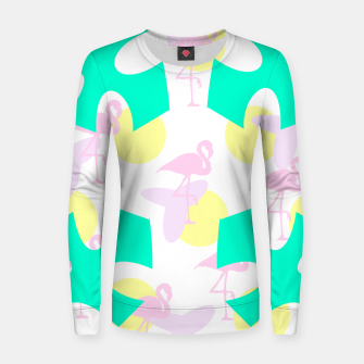 Thumbnail image of Flamingo vibrant pattern Woman cotton sweater, Live Heroes