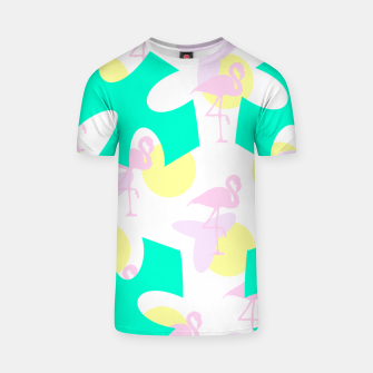 Thumbnail image of Flamingo vibrant pattern T-shirt, Live Heroes