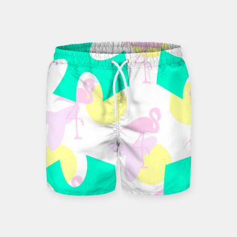Thumbnail image of Flamingo vibrant pattern Swim Shorts, Live Heroes