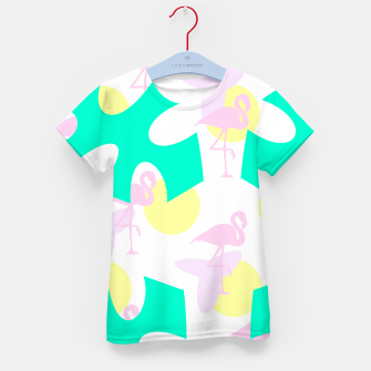Thumbnail image of Flamingo vibrant pattern Kid's t-shirt, Live Heroes
