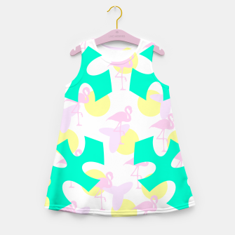 Thumbnail image of Flamingo vibrant pattern Girl's summer dress, Live Heroes