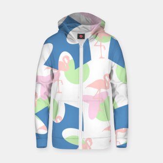 Thumbnail image of Flamingo blue motif Cotton zip up hoodie, Live Heroes