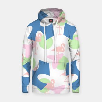 Thumbnail image of Flamingo blue motif Cotton hoodie, Live Heroes