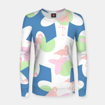 Thumbnail image of Flamingo blue motif Woman cotton sweater, Live Heroes