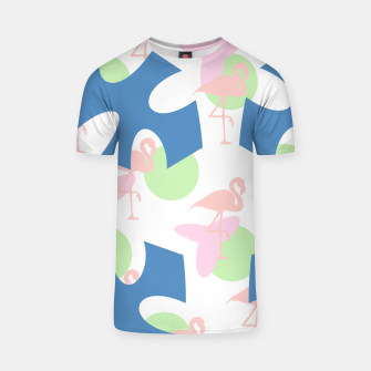 Thumbnail image of Flamingo blue motif T-shirt, Live Heroes