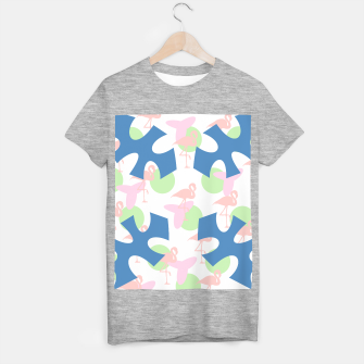 Thumbnail image of Flamingo blue motif T-shirt regular, Live Heroes