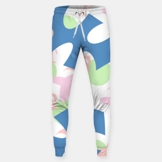 Thumbnail image of Flamingo blue motif Cotton sweatpants, Live Heroes