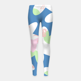 Thumbnail image of Flamingo blue motif Girl's leggings, Live Heroes