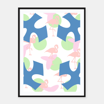 Thumbnail image of Flamingo blue motif Framed poster, Live Heroes