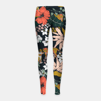 Thumbnail image of Animal print dark jungle Leggings para niña, Live Heroes