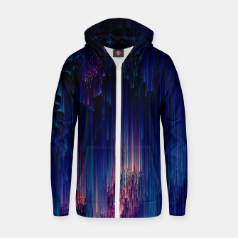 Thumbnail image of Glitch of Fantasy - Abstract Glitchy Pixel Art Cotton zip up hoodie, Live Heroes