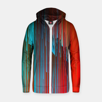 Thumbnail image of California Dreamin' - Abstract Glitchy Pixel Art Cotton zip up hoodie, Live Heroes