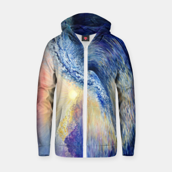 Thumbnail image of Wave Oil painting Cotton zip up hoodie, Live Heroes