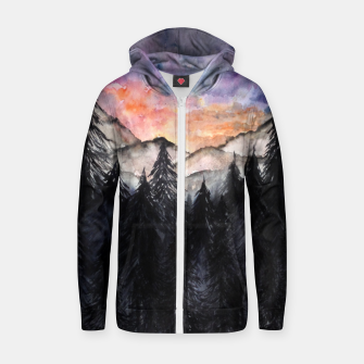 Thumbnail image of Evening Mountains2 Cotton zip up hoodie, Live Heroes
