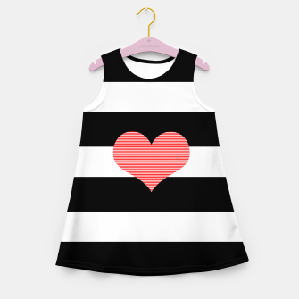 Thumbnail image of Heart - strips - black and white . Girl's summer dress, Live Heroes