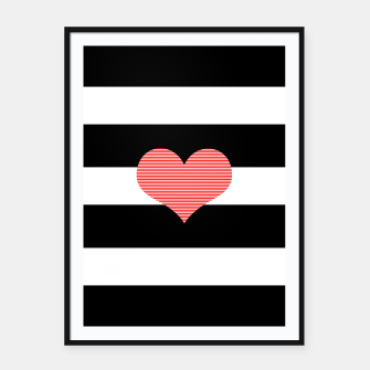 Thumbnail image of Heart - strips - black and white . Framed poster, Live Heroes