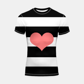 Thumbnail image of Heart - strips - black and white . Shortsleeve rashguard, Live Heroes