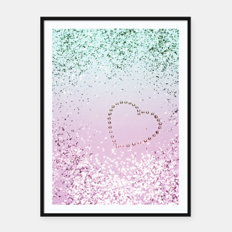 Thumbnail image of Mermaid Lady Glitter Heart #4 #decor #art Plakat mit rahmen, Live Heroes