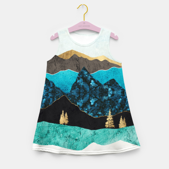 Miniatur Teal Afternoon Girl's summer dress, Live Heroes