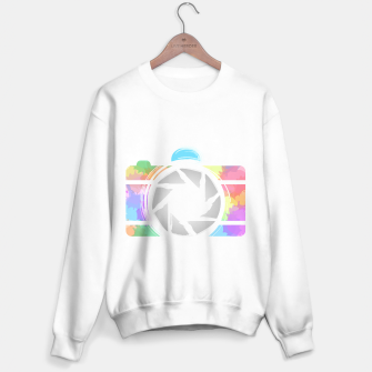 Miniaturka Watercolor Photography camera- Rainbow colored photography lover icon Sweater regular, Live Heroes