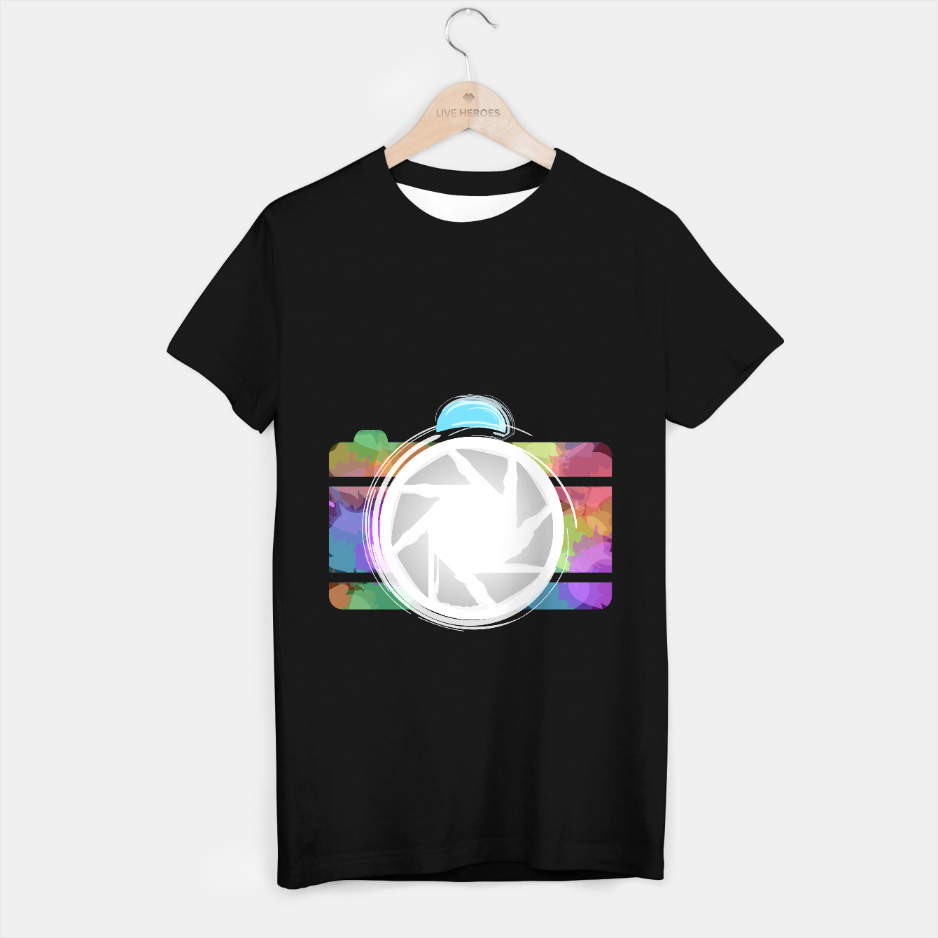 Image of Watercolor Photography camera- Rainbow colored photography lover icon T-shirt regular - Live Heroes