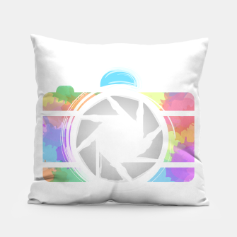 Miniaturka Watercolor Photography camera- Rainbow colored photography lover icon Pillow, Live Heroes