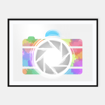 Miniaturka Watercolor Photography camera- Rainbow colored photography lover icon Framed poster, Live Heroes