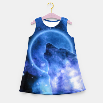 Thumbnail image of Cosmic Howling Wolf Moon Mädchen-Sommerkleid, Live Heroes
