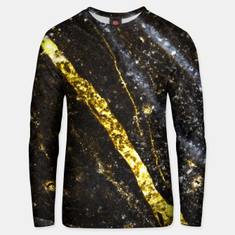 Thumbnail image of Gold sparkly line on black rock Cotton sweater, Live Heroes