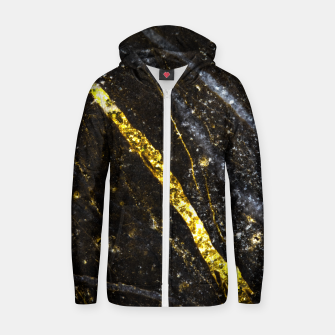Thumbnail image of Gold sparkly line on black rock Cotton zip up hoodie, Live Heroes