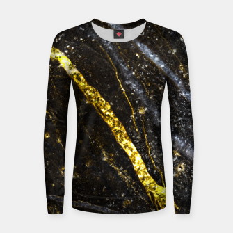Thumbnail image of Gold sparkly line on black rock Woman cotton sweater, Live Heroes