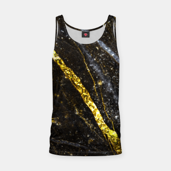 Miniaturka Gold sparkly line on black rock Tank Top, Live Heroes
