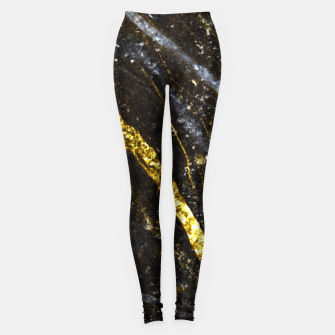Thumbnail image of Gold sparkly line on black rock Leggings, Live Heroes