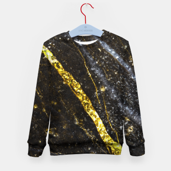 Thumbnail image of Gold sparkly line on black rock Kid's sweater, Live Heroes
