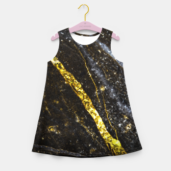 Thumbnail image of Gold sparkly line on black rock Girl's summer dress, Live Heroes