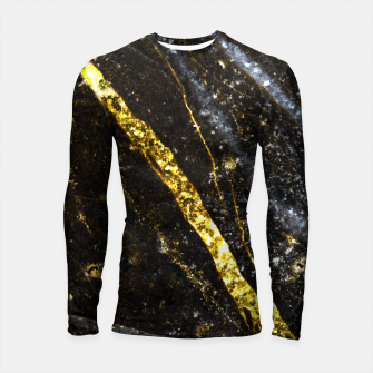 Thumbnail image of Gold sparkly line on black rock Longsleeve rashguard , Live Heroes
