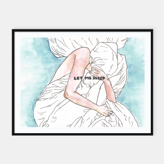 Thumbnail image of Let me sleep colored Framed poster, Live Heroes