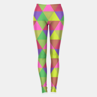 Thumbnail image of Multicoloured Geometric Triangles Digital Repeat Pattern Leggings, Live Heroes