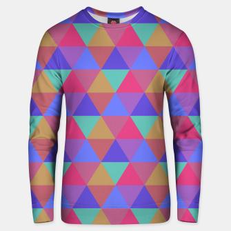Thumbnail image of Multicoloured Geometric Triangles Digital Repeat Pattern Cotton sweater, Live Heroes